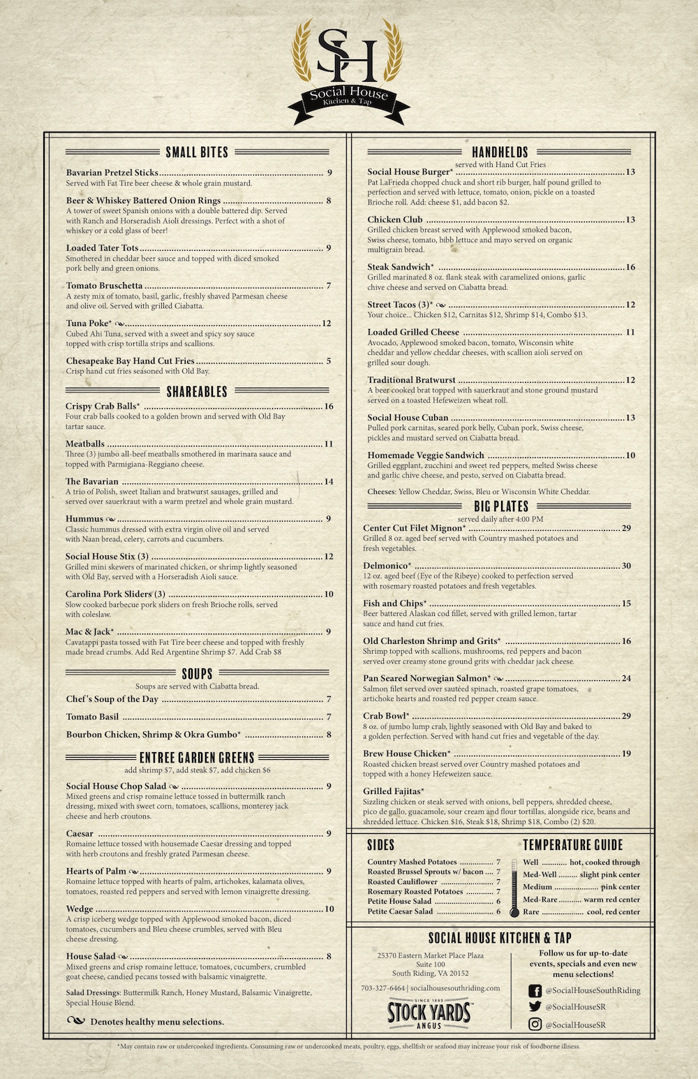 Social House Kitchen And Tap Menu